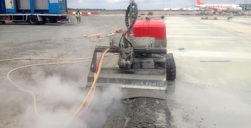Airport runway hydrodemolition concrete removal
