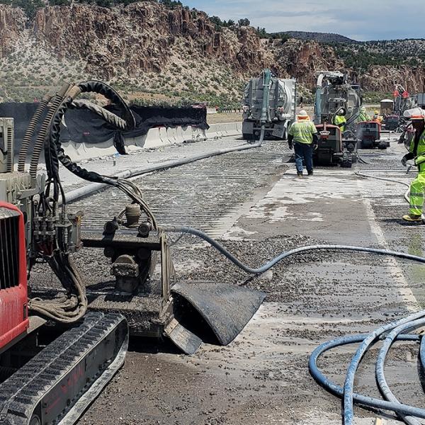 aquajet hydrodemolition equipment aqua cutter waterblasting productivity concrete repair road bridge project